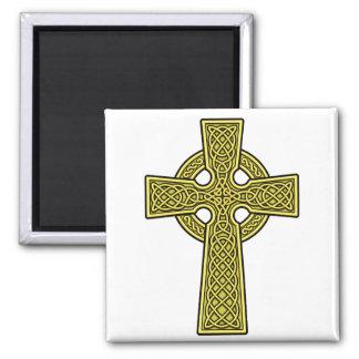 Celtic Cross gold Square Magnet