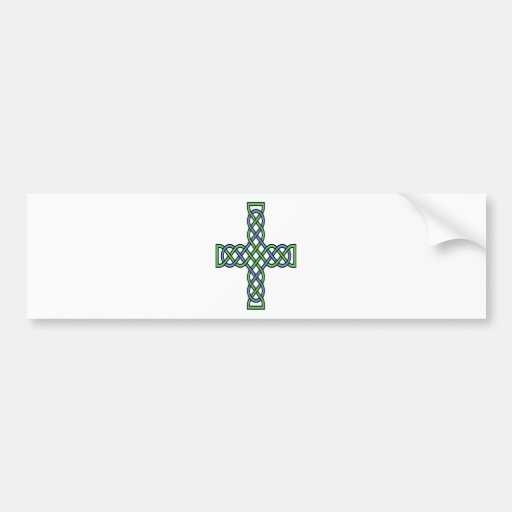 Celtic Cross (Green and Blue) Bumper Stickers