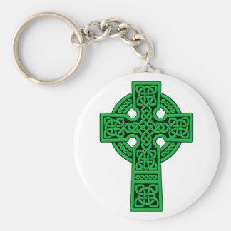 Celtic Cross green Basic Round Button Key Ring