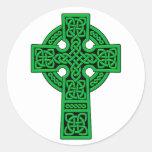 Celtic Cross green Classic Round Sticker