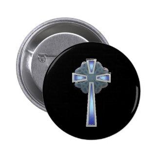 Celtic Cross in Blue - button