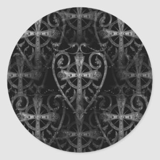Celtic cross in heart gothic crypt door round sticker