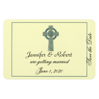 Celtic Cross in Teal and Ivory Save the Date Rectangle Magnets
