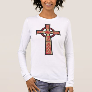 Celtic Cross Ladie's Fitted Long Sleeve Shirt