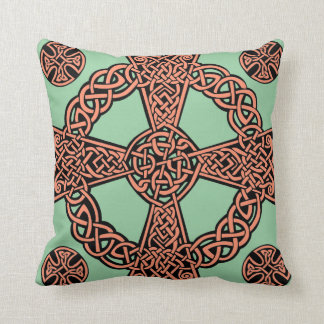 Celtic cross mint green peach knot cushion