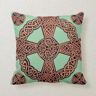 Celtic cross mint green peach knot throw pillow