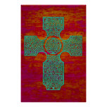 Celtic Cross: Patina on Red Poster