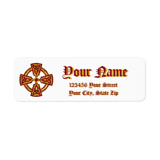 Celtic Cross Red and Gold Return Address Label
