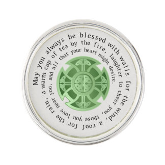 Celtic Cross Spiral Design Irish Blessing Lapel Pin