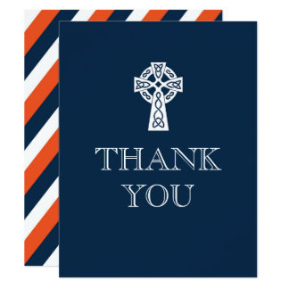 Celtic Cross Thank You Card - First Communion 11 Cm X 14 Cm Invitation Card