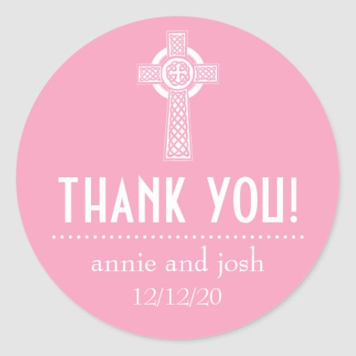 Celtic Cross Thank You Labels (Pink / White) Round Sticker