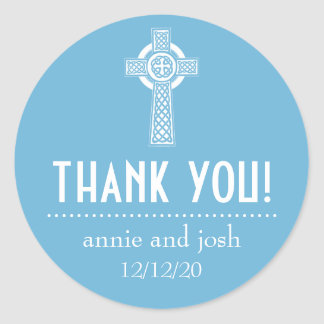 Celtic Cross Thank You Labels (Sky Blue / White) Round Sticker