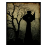 Celtic Cross With Crow Poster