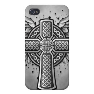 Celtic Cross With Wings (black & grey) iPhone 4/4S Covers