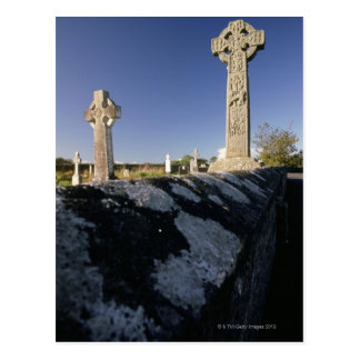 Celtic crosses in a graveyard, Davacliff, Postcard