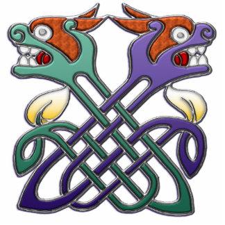 Celtic Design Split Heads Standing Photo Sculpture