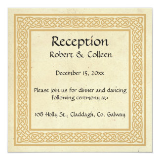 Celtic Design with Claddagh Wedding Reception. Card
