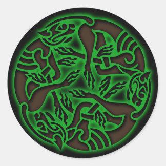 Celtic Dog Chase Classic Round Sticker