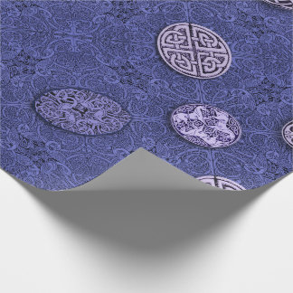 Celtic Dogs, Horses and Birds in Blue Wrapping Paper