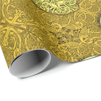 Celtic Dogs, Horses and Birds in Gold Wrapping Paper