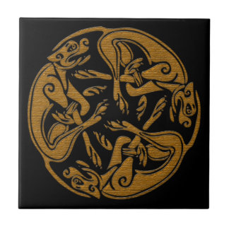 Celtic dogs traditional ornament wooden look ceramic tile
