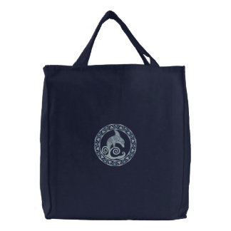 Celtic Dolphin Embroidered Tote Bag