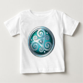 Celtic Double Triskelion - Silver with Teal Baby T-Shirt
