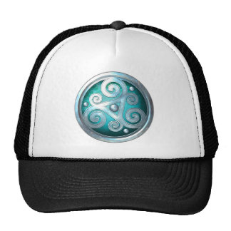Celtic Double Triskelion - Silver with Teal Cap