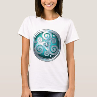 Celtic Double Triskelion - Silver with Teal T-Shirt