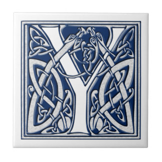 Celtic Dragon Initial Y Small Square Tile