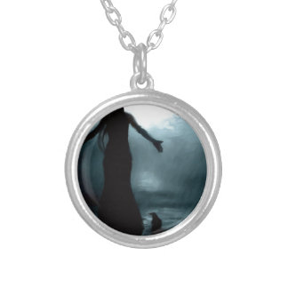 celtic goddess morrigan crow raven rain water silver plated necklace