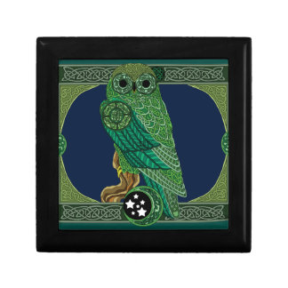 Celtic Green Owl Small Square Gift Box