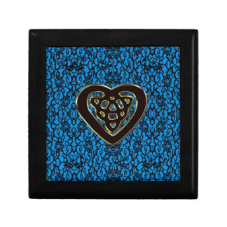 Celtic Heart Knot on Black Lace and Blue Gift Box