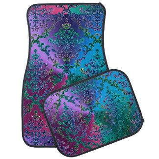 Celtic Heart Knot on Colorful Metallic Damask Car Mat