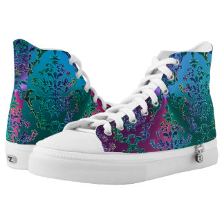 Celtic Heart Knot on Colorful Metallic Damask High Tops