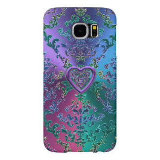 Celtic Heart Knot on Colorful Metallic Damask Samsung Galaxy S6 Cases
