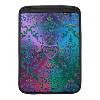 Celtic Heart Knot on Colorful Metallic Damask Sleeves For MacBook Air