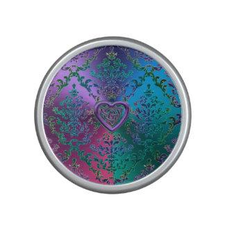 Celtic Heart Knot on Colorful Metallic Damask Speaker