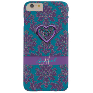 Celtic Heart Lavender Teal Damask iPhone 6 Case Barely There iPhone 6 Plus Case