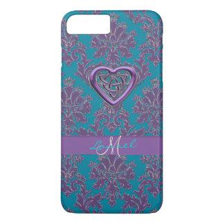 Celtic Heart Lavender Teal Damask iPhone 7 Case