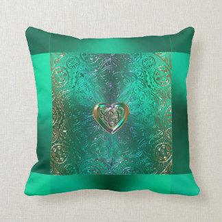 Celtic Heart Mandala In Green and Gold Original Cushion