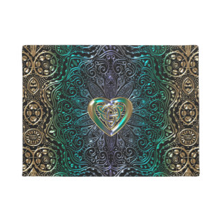 Celtic Heart Mandala In Green and Gold Original Doormat