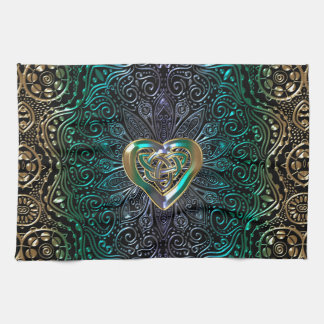 Celtic Heart Mandala In Green and Gold Original Kitchen Towel