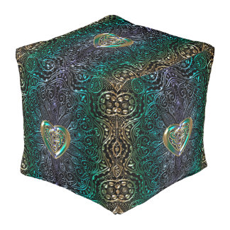 Celtic Heart Mandala In Green and Gold Original Pouf