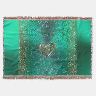 Celtic Heart Mandala In Green and Gold Original Throw Blanket