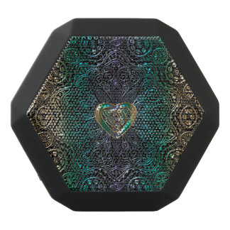 Celtic Heart Mandala In Green Gold Black Bluetooth Speaker