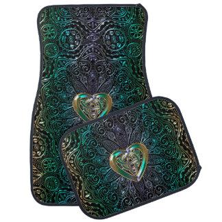 Celtic Heart Mandala In Green Gold Car Mat