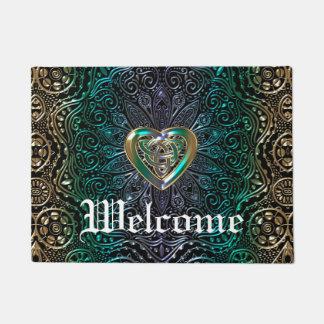 Celtic Heart Mandala In Green Gold Doormat