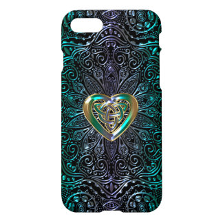 Celtic Heart Mandala In Green Gold iPhone 8/7 Case