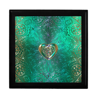 Celtic Heart Mandala In Green Gold Large Square Gift Box